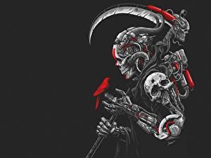 Фотографии Образ смерти Черепа С косой Черный фон DEATH MACHINE by Sony Wicaksana Фэнтези