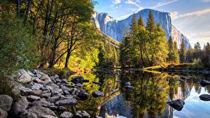 Фотографии США Горы Озеро Камни Парки Осенние Калифорния Йосемити Деревья Природа