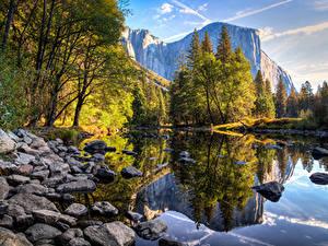 Фотографии США Горы Озеро Камни Парк Осенние Калифорния Йосемити Деревья Природа