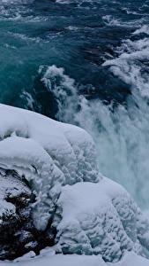 Картинка Исландия Водопады Снег