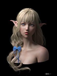 Фотографии Блондинка Черный фон Красивые Фантастика 3D_Графика Девушки
