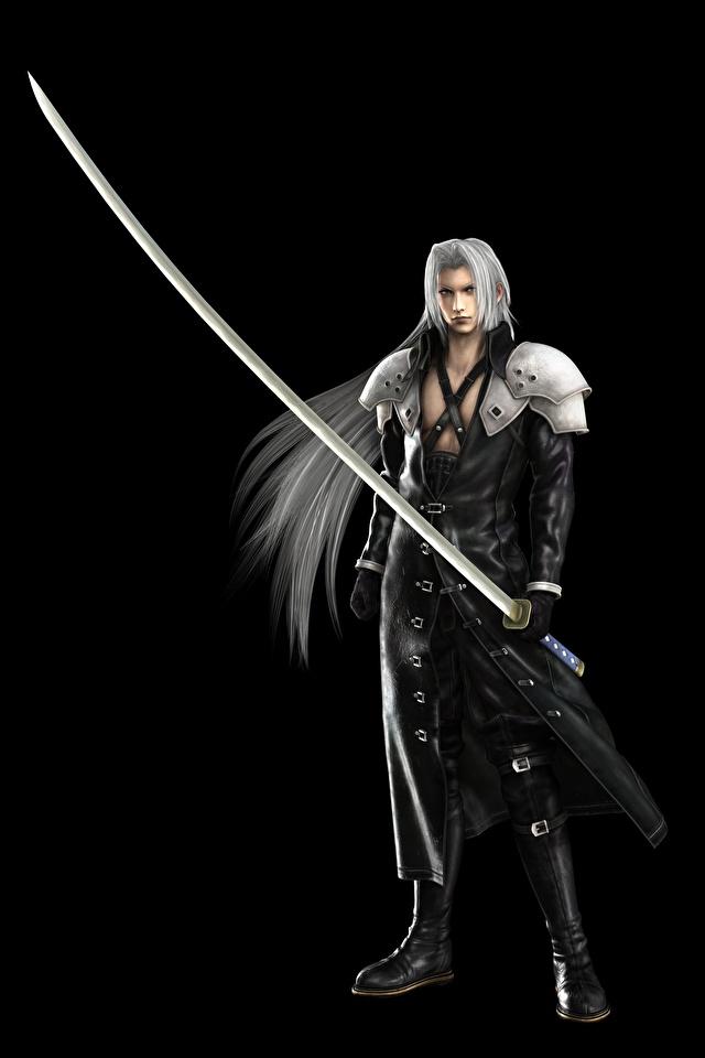 Фото Final Fantasy с саблей Воители Sephiroth 3D Графика Игры Черный фон 640x960 Сабли воины