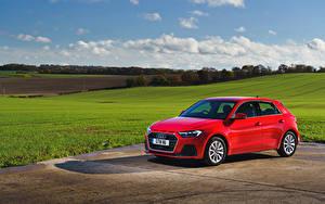Обои для рабочего стола Audi Красные Металлик 2018 A1 Sportback 30 TFSI Sport машины