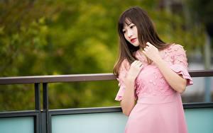 Фотографии Азиатки Боке Платья Рука Шатенки девушка