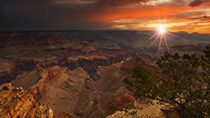 Картинки Гранд-Каньон парк Штаты Парки Горы Рассветы и закаты Лучи света