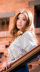 Картинка Азиатка Боке Шатенка Миленькие Взгляд Красивые молодая женщина