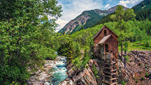 Картинка США Горы Реки Леса Мельница Crystal River Colorado Природа