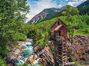 Картинка США Горы Реки Лес Crystal River Colorado