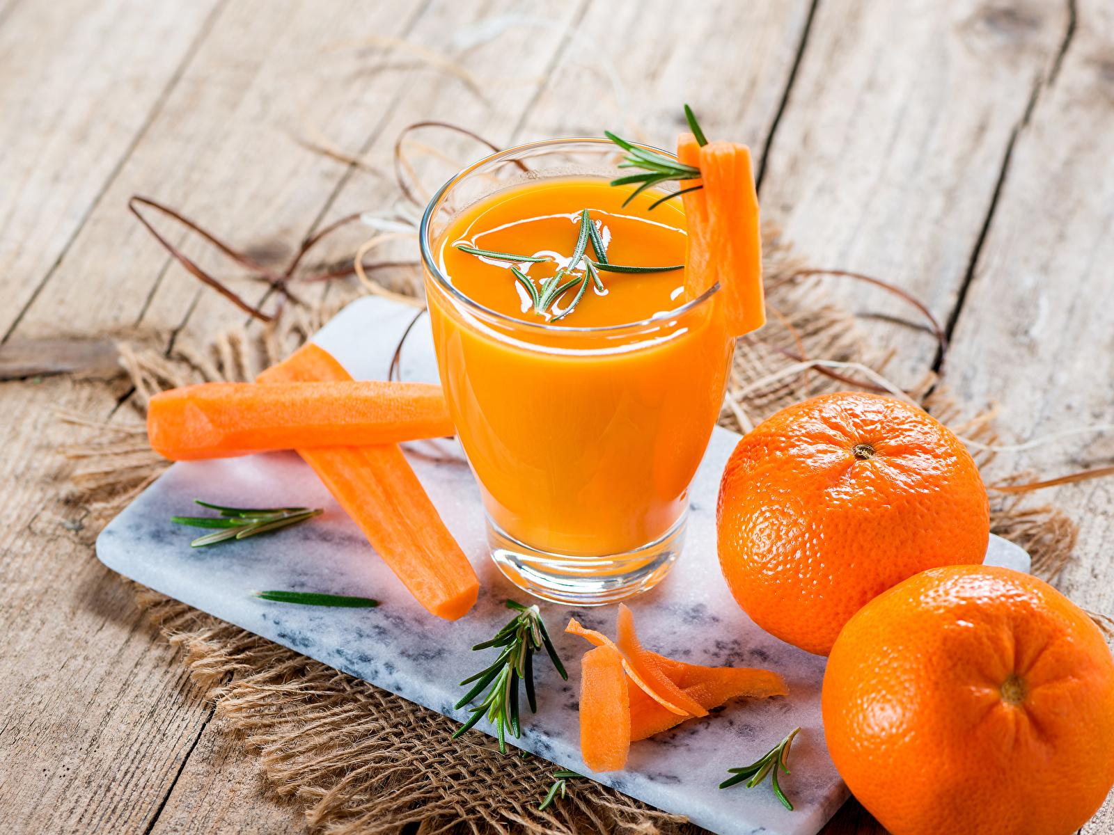 Картинка Сок Морковь Мандарины стакана Еда Доски 1600x1200 Стакан стакане Пища Продукты питания