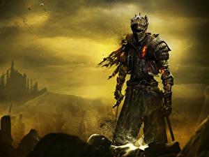 Фотографии Рыцарь Dark Souls 3 Доспехи Мечи компьютерная игра Фэнтези