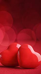 Фотография День святого Валентина Сердце Двое Красных
