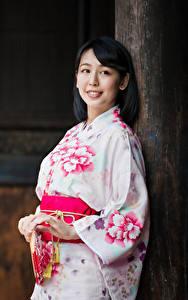 Фото Азиаты Боке Кимоно Взгляд Девушки