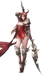 Картинки Воин Белый фон С копьем Красивый Daeho Cha Goddess of Dragon Фантастика Девушки