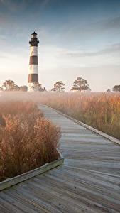 Обои США Маяки Трава Bodie Island North Carolina Природа