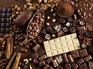 Обои Сладости Шоколад Орехи Конфеты Шоколадка Какао порошок Пища