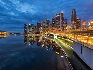 Картинки Побережье Здания Вечер Сингапур Мосты Залив Города