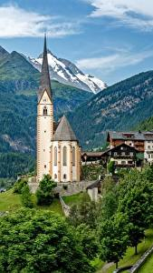 Фотографии Гора Церковь Дома Австрия Альпы Heiligenblut Природа