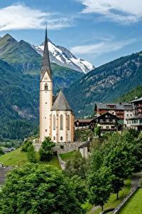 Обои для рабочего стола Гора Церковь Здания Австрия Альп Heiligenblut Природа