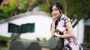 Картинки Азиатки Брюнетки Позирует Платье Размытый фон Руки девушка
