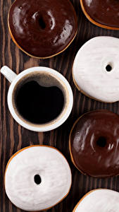 Обои Кофе Пончики Шоколад Доски Чашка