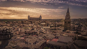 Картинка Толедо Испания Здания Краши Башня Города