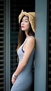 Обои Азиаты Шатенки Шляпы Боке Девушки