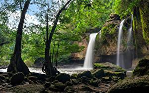 Фотография Таиланд Парки Водопады Камни Скала Деревья Мох Heo Suwat Waterfall Khao Yai National Park Природа