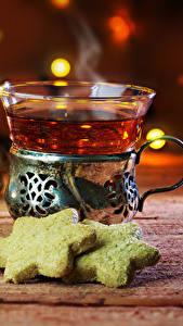 Фото Напиток Чай Корица Печенье Доски Чашка Пища