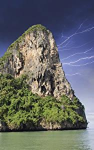 Картинки Таиланд Тропический Скале Молнии