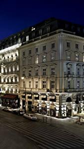 Фотографии Вена Австрия Здания Дороги Гостиница Улица Ночь Уличные фонари Hotel Sacher Города