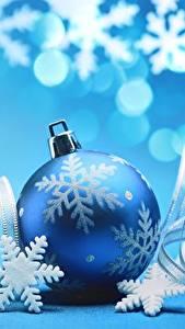 Картинка Рождество Шар Снежинки Синий