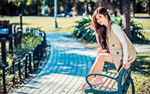 Фотография Азиаты Скамейка Сидит Ног Боке Девушки