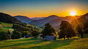 Картинка Германия Гора Рассветы и закаты Здания Солнца Деревьев Landscape Belchen