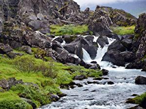 Обои Камень Горы Водопады Утес Ручей Природа