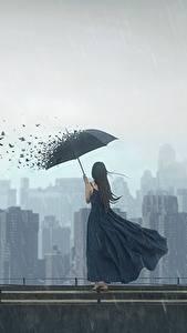 Фотография Птица Дождь Дома Зонт Платье Фантастика Девушки