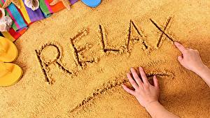 Фотография Песок Отдых Слово - Надпись Английский Руки