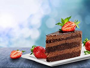 Картинка Пирожное Клубника Шоколад Еда