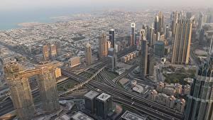 Обои Дубай Объединённые Арабские Эмираты Небоскребы Мегаполис Сверху Города