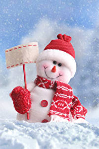 Обои Рождество Зима Снег Снеговики Шапки Шарф Природа