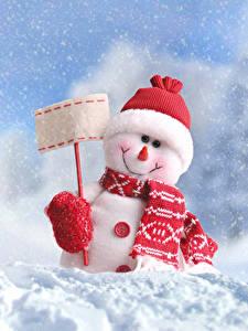 Обои Рождество Зима Снег Снеговики Шапки Шарф