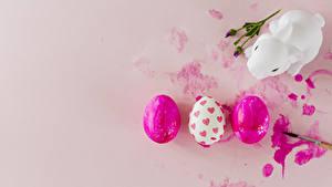 Фотография Пасха Кролики Цветной фон Яйца Втроем Сердце