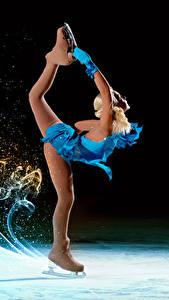 Фотография Коньки Ног Танцует Униформа девушка Спорт