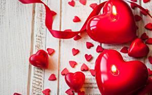 Обои Свечи День всех влюблённых Сердечко Красные