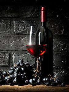 Фотографии Вино Виноград Стена Бутылка Бокалы