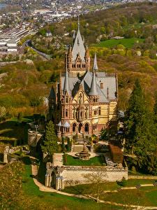 Фото Германия Осенние Замки Дома Сверху Drachenburg Schloss