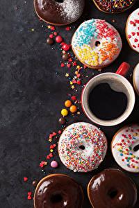 Фотографии Выпечка Пончики Кофе Чашка