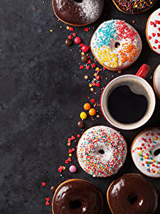 Фотографии Выпечка Пончики Кофе Чашке Пища