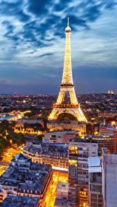 Фото Небо Вечер Франция Эйфелева башня Париж Сверху Города