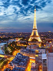 Фото Небо Вечер Франция Эйфелева башня Париже Сверху Города