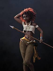 Обои Воины Негр Копья Красивые Jason Knight, Huntress, art 3D Графика Девушки
